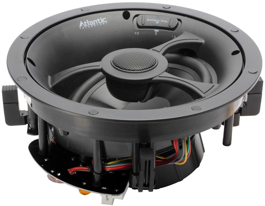 Gros plan sur l'enceinte encastrable LCR plafond Atlantic Technology IC6 HTS