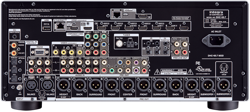 INTEGRA DHC60.7 , pré amplificateur Dolby Atmo, XLR