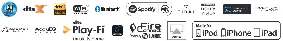 ONKYO TX-NR676, AirPlay,  Spotify, TIDAL, Deezer, Pandora, TuneIn