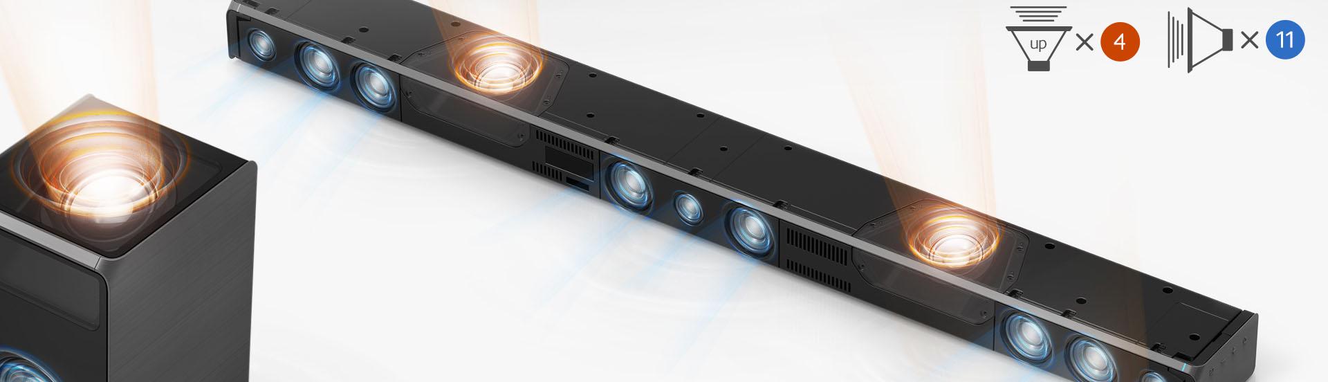 La barre de son Samsung HW-K950 possède 15 hauts-parleurs pour un total de 500 Watts RMS