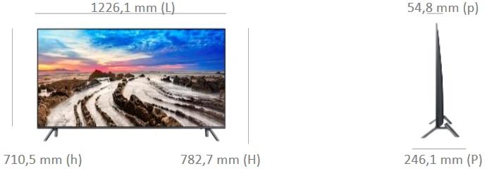 Dimensions de la TV Samsung UE55MU7055