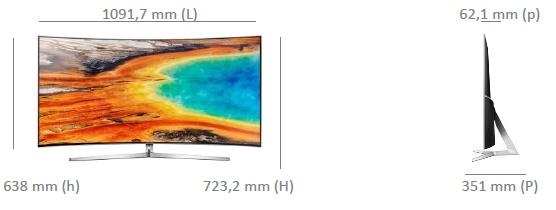 Dimensions de la TV Samsung UE49MU9005