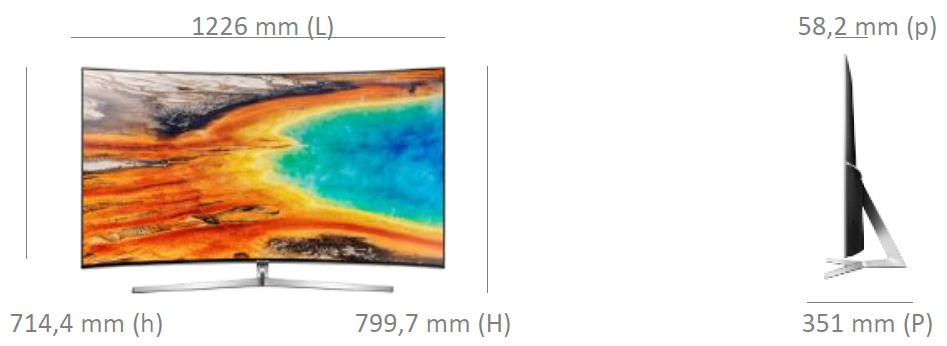 Dimensions de la TV Samsung UE55MU9005