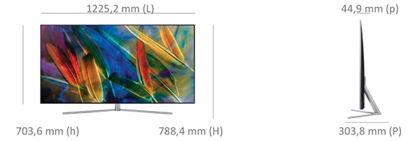 Dimensions du Samsung 55Q7