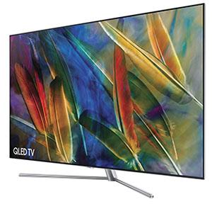 Vue de côté du téléviseur QLED Samsung Q7F