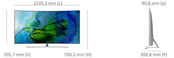 Dimensions du Samsung 55Q8
