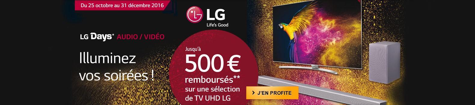 Jusqu'au 31 décembre, profitez d'un remboursement de LG pouvant aller jusqu'à 500€ pour l'achat d'un TV LED UHD