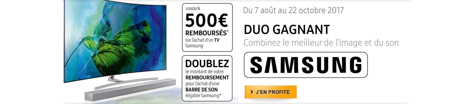 Samsung vous rembourse jusqu'à 1000€ pour l'achat d'un téléviseur 4K et d'une barre de son