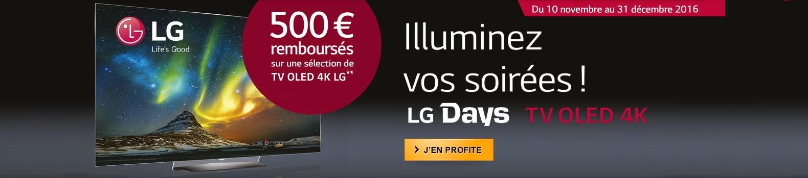 500€ remboursés par LG pour l'achat d'un TV OLED !