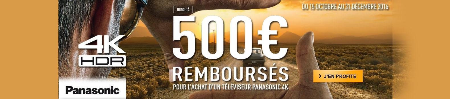 Jusqu'à 500€ remboursés pour l'achat d'un téléviseur 4K Panasonic