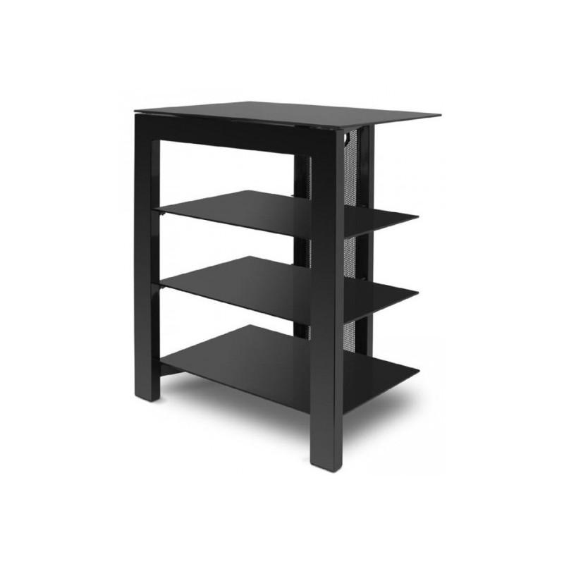 arca deconti meuble hi fi 4 tag res acier noir. Black Bedroom Furniture Sets. Home Design Ideas