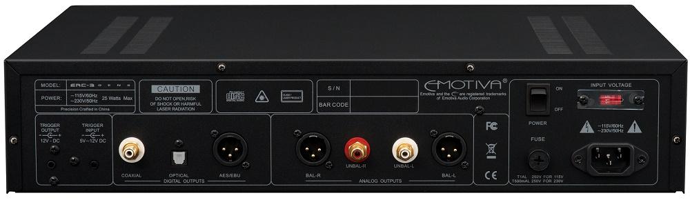 EMOTIVA ERC3, lecteur de CD, sorties RCA, XLR, Coax, optique, AES / EBU