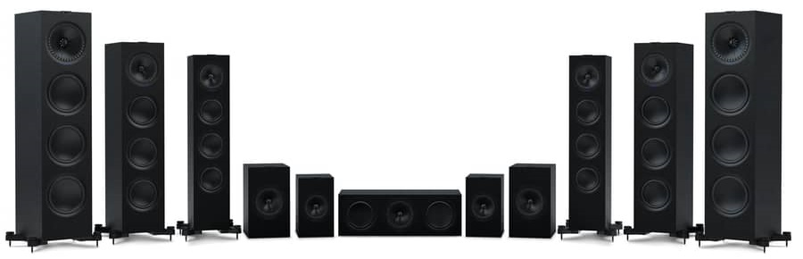 Paire d'enceintes colonne, 2.5 voies Bass-reflex, haut-parleur coaxial, KEF Q550