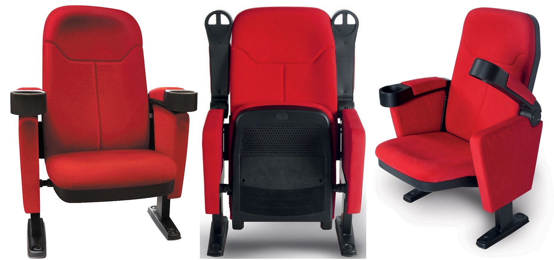 Fauteuil cinéma, tissu rouge, Lumene Hollywood Confort
