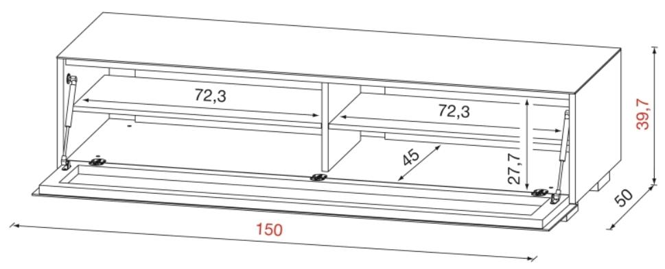 Dimensions du meuble TV 150 cm MUNARI GE150