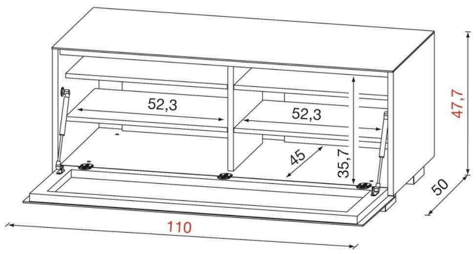 Dimensions du meuble TV Munari Genova GE110
