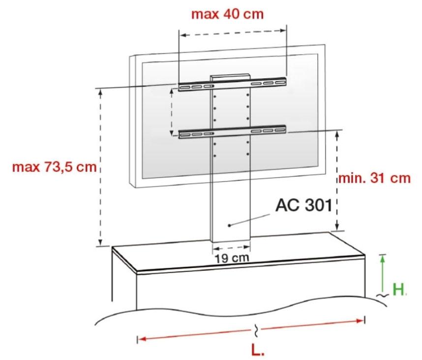 Dimensions de la potence optionnelle Munari pour TV