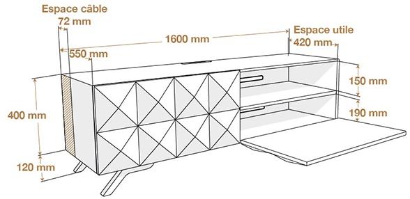 Dimensions du meuble Norstone Facet
