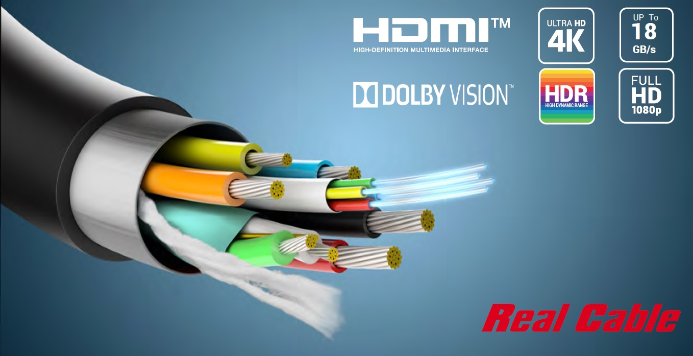 Real Cable HD-Optic, HDMI 2.0, HDR 4K 60Hz (3840*2160 @60Hz), 4:4: