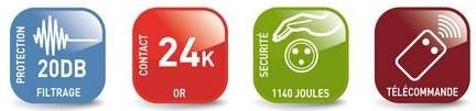 Boitier spécial filtrage 6 prises + Télécommande