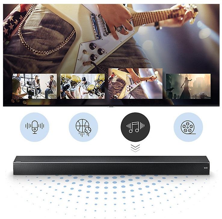 Barre de son, Wi-Fi, Bluetooth, 2 Haut-parleurs verticaux, Samsung HW-MS750