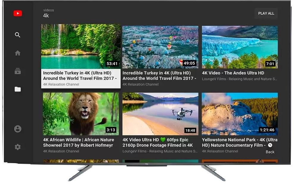TCL 55C715, Youtube en qualité 4K HDR