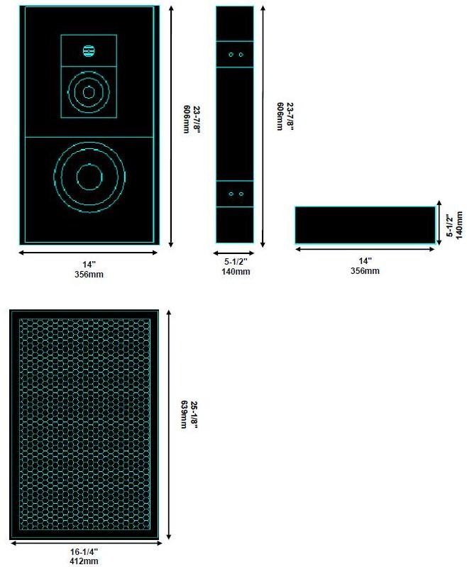 Enceinte LCR Verticale - Boomer 2 x 6.5
