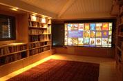 Salle de cinéma dans une bibliothèque