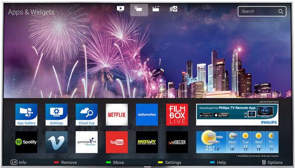 Connecté à Internet via un câble réseau ou en liaison sans fil WiFi, le téléviseur OLED Philips 65OLED873 peut accéder à de nombreux services en ligne comme Netflix, YouTube, Deezer, Spotify...