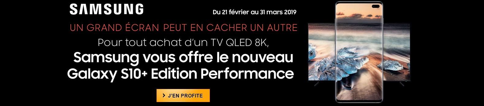 Achetez un TV Samsung QLED 8K et recevez à domicile le nouveau Galaxy S10+ Edition Performance Céramique Noir 512 Go