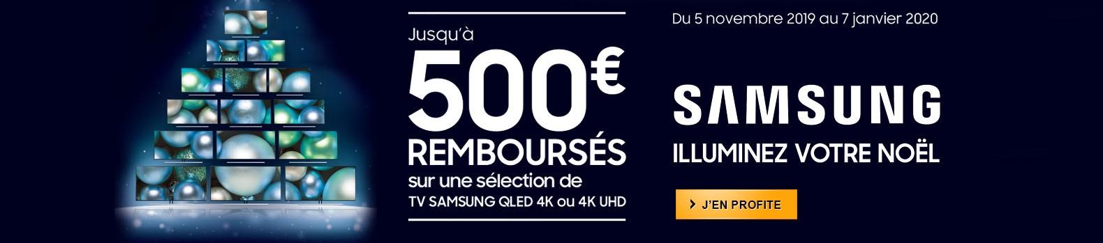 Jusqu'à 500€ remboursés pour l'achat d'un téléviseur QLED Samsung