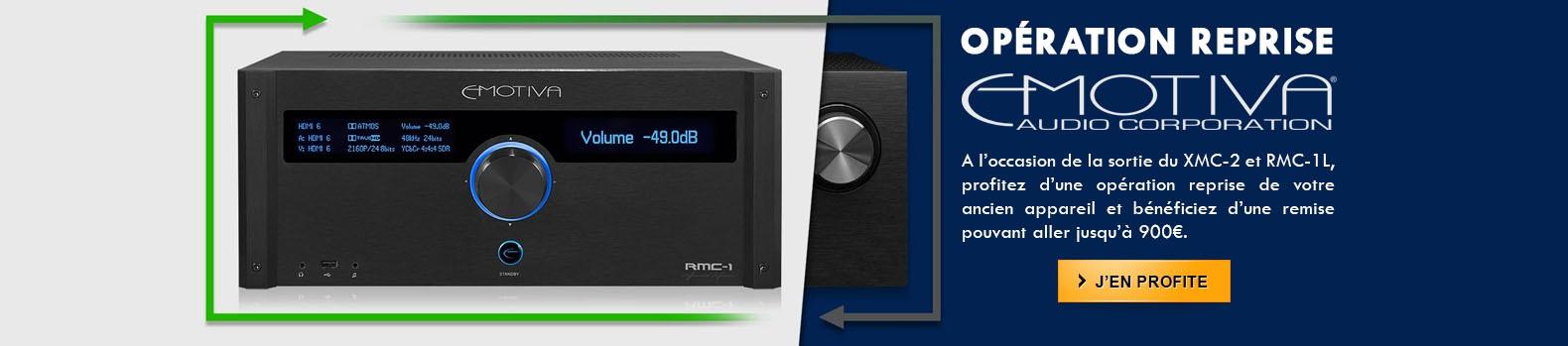 Emotiva reprend votre ancien appareil pour l'achat d'un nouveau processeur XMC-2 ou RMC-1