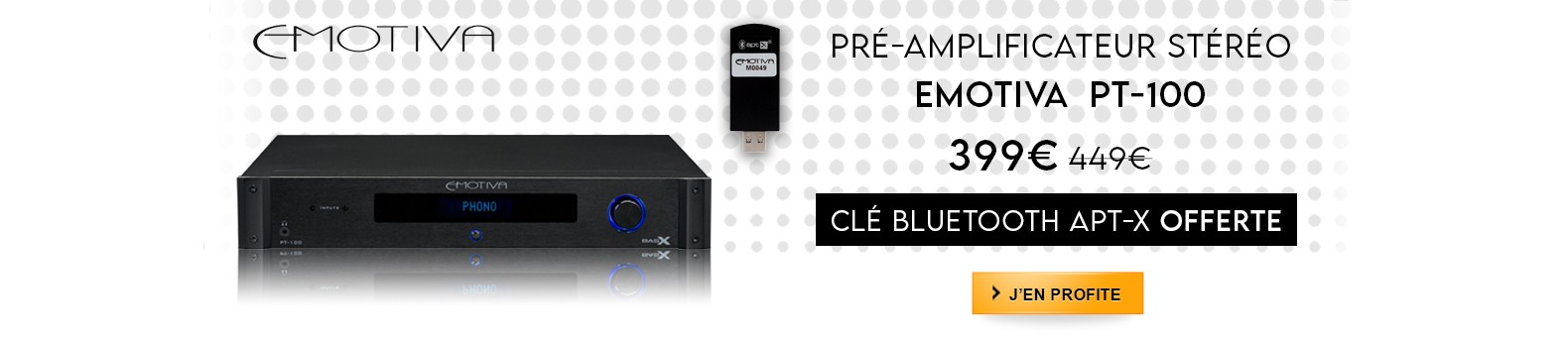 Pré-ampli/DAC stéréo Emotiva PT-100 en promotion ! Dongle Bluetooth offert