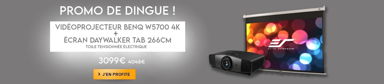 Le pack cinéma fou avec le vidéo projecteur benQ W5700 + son écran DAYWALKER TAB TENSION BLACK MASK !