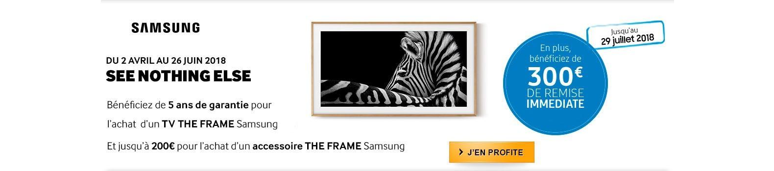 300€ déduits immédiatement pour l'achat d'un TV tableau Samsung The Frame