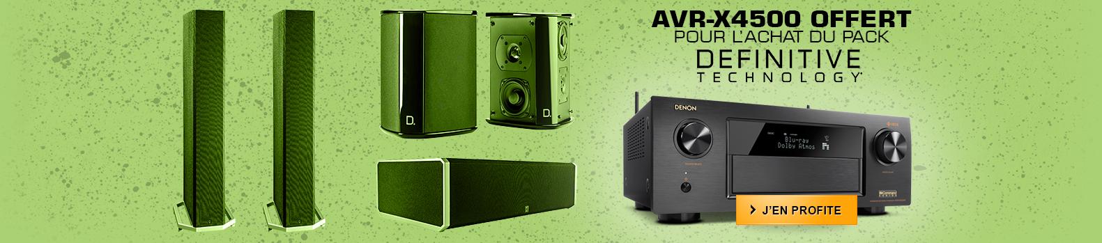 Amplificateur Denon AVR X4500 offert pour l'achat du pack d'enceinte definitive technology