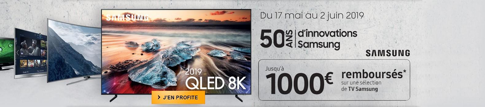 Jusqu'à 1000€ remboursés pour l'achat d'un téléviseur QLED Samsung
