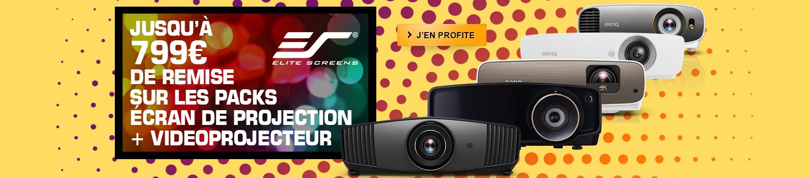 Jusqu'à 799€ de remise sur les packs écran de projection + vidéoprojecteur