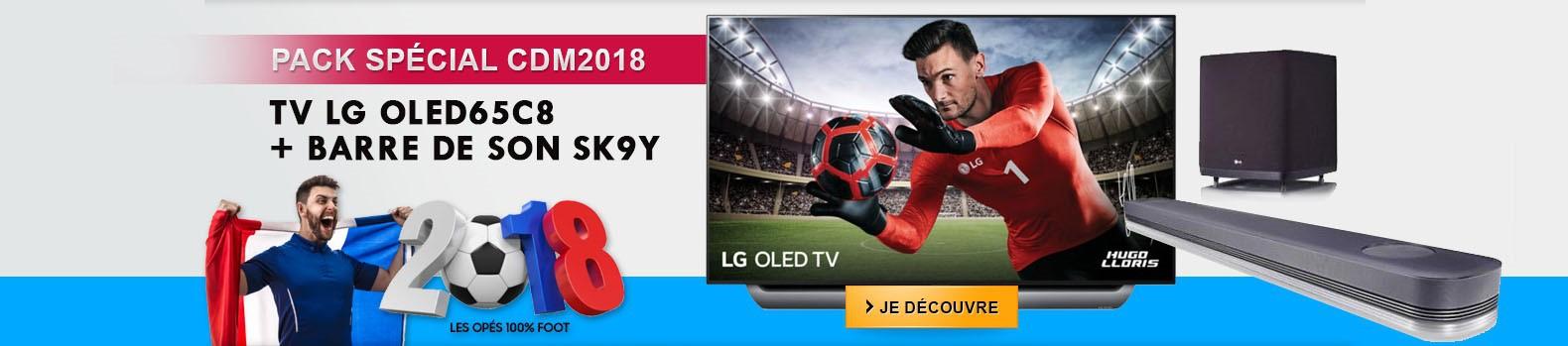 Promo coupe du coupe 2018 ! Votre pack LG TV OLED65C8 + Barre de son SK9Y à prix spécial