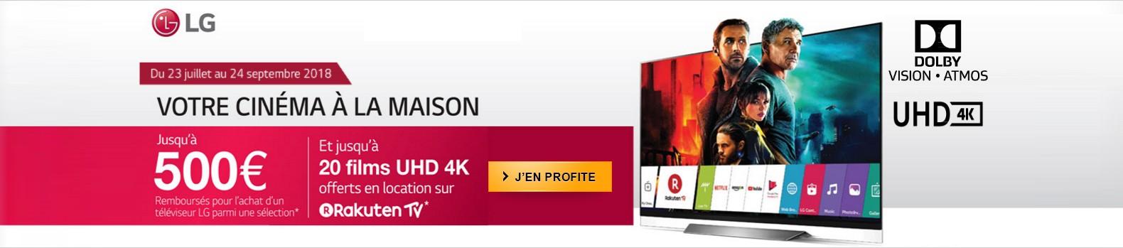 Jusqu'à 500 euros remboursés et 20 films 4K offerts pour l'achat d'un TV OLED LG