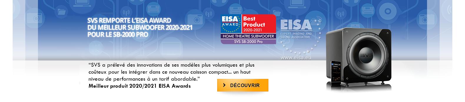 SVS remporte l'EISA award du meilleur caisson 2020-2021