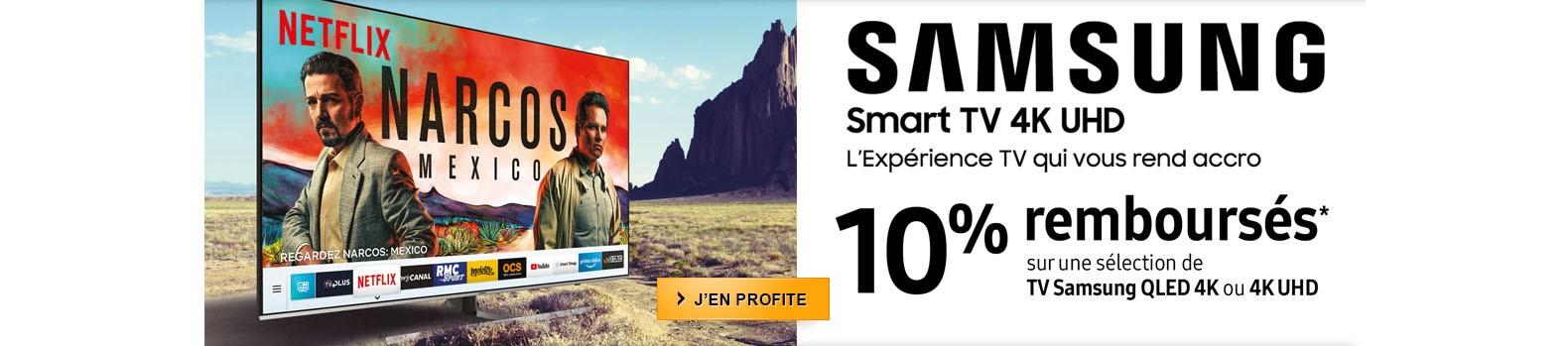 Samsung vous rembourse 10% pour l'achat d'une TV QLED et 4K UHD jusqu'au 29 janvier
