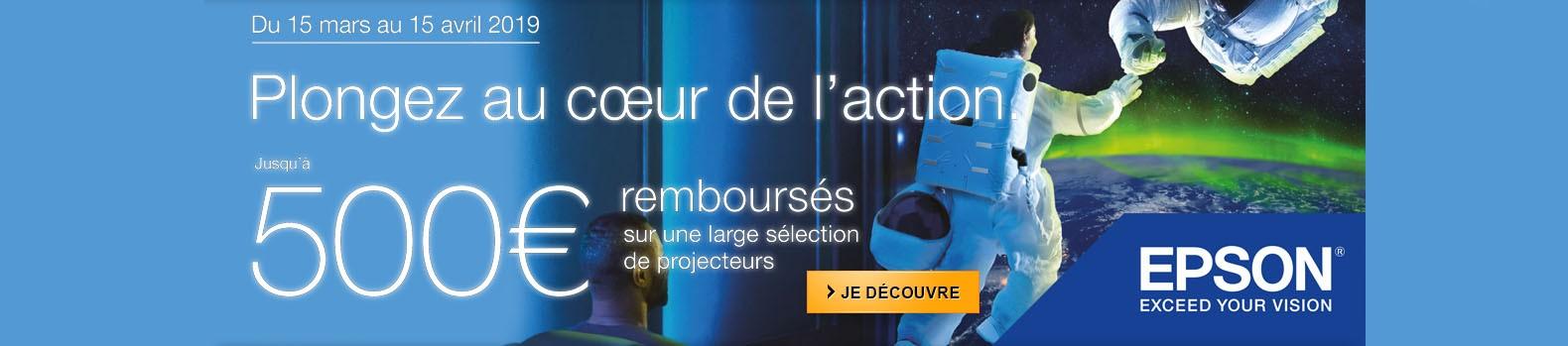Jusqu'à 500€ remboursés pour l'achat d'un vidéoprojecteur Epson
