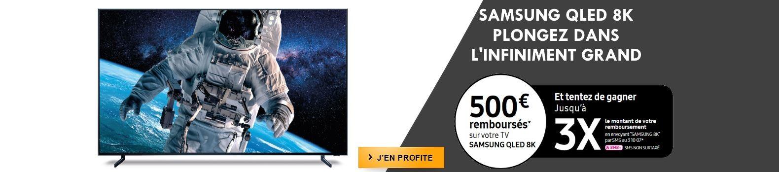 Jusqu'à 500€ remboursés pour l'achat d'un téléviseur QLED 8K Samsung et tentez votre chance avec Instants Gagnants