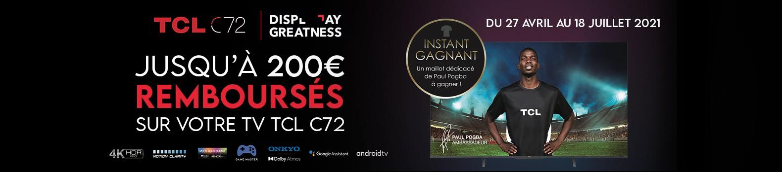 Jusqu'à 200€ remboursés pour l'achat d'un TV TCL C725 !