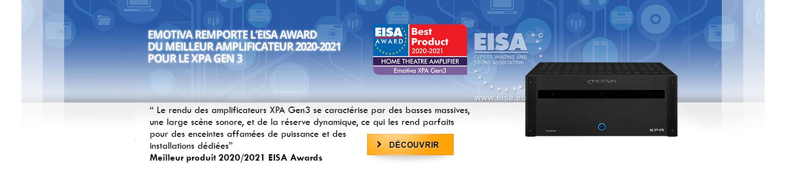 Emotiva remporte l'EISA award du meilleur amplificateur 2020-2021