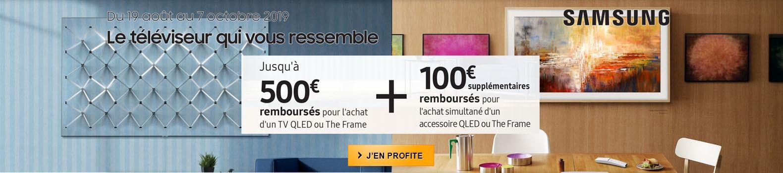 Jusqu'à 500€ remboursés pour l'achat d'un téléviseur Frame Samsung avec 100€ supplémentaires si achat d'un accessoires