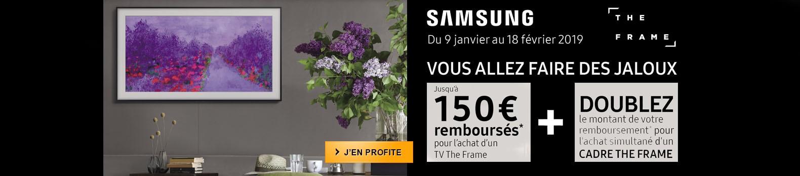Jusqu'à 300 euros remboursés pour l'achat d'un TV Samsung The Frame jusqu'au 18 février 2019