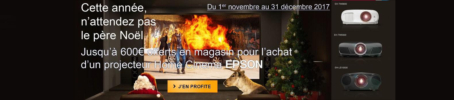 Jusqu'à 600€ remboursés pour l'achat d'un projecteur home cinéma EPSON